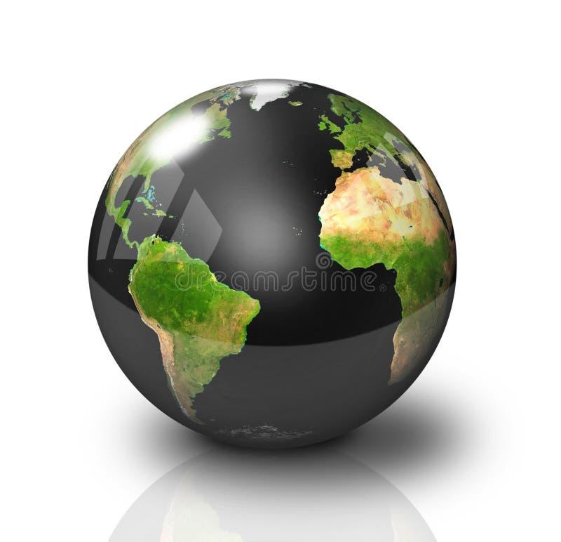 Glatte schwarze Erde-Kugel stock abbildung