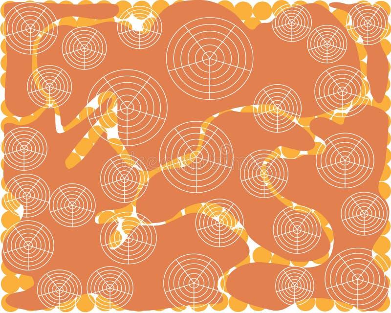 Glatte stromlinienförmige Formen des abstrakten orange Hintergrundes mit weißen runden Formen vektor abbildung