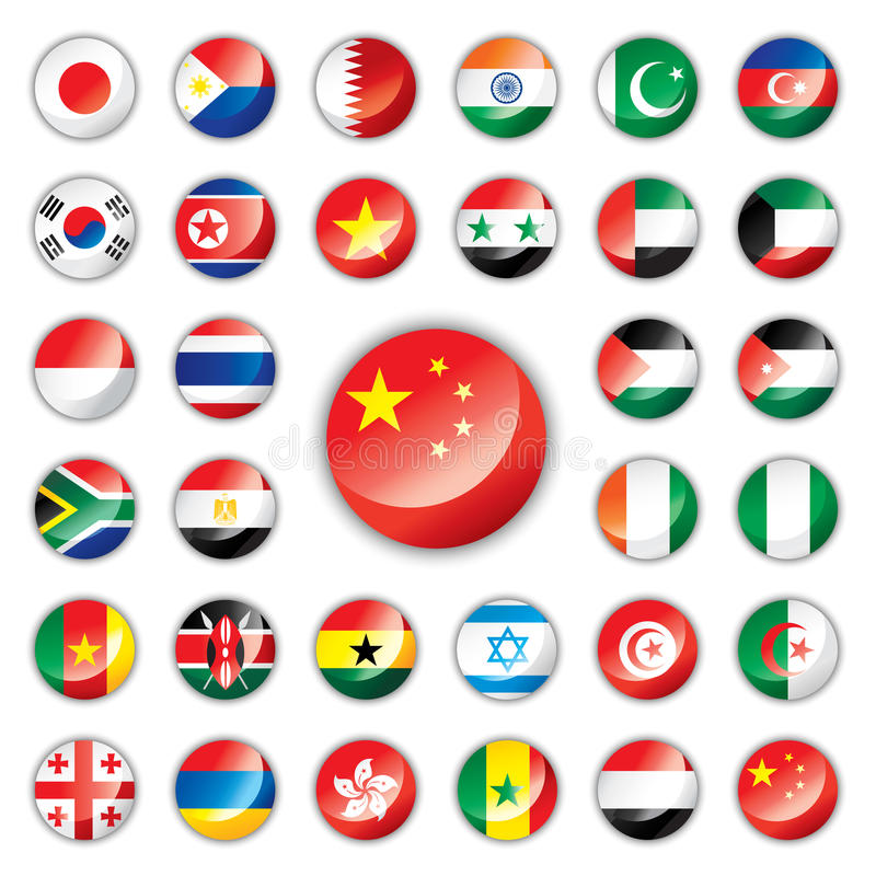 Glatte Tastenmarkierungsfahnen - Asien u. Afrika vektor abbildung