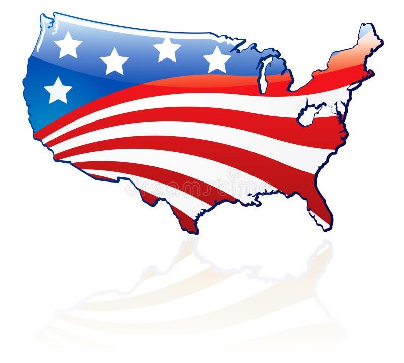 Glatte USA-Markierungsfahne und Karte lizenzfreie abbildung
