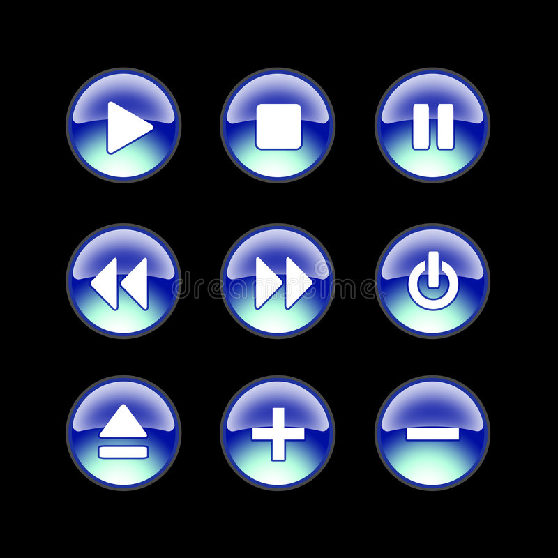 Glatte webbsite Audiosikonen stockfotos