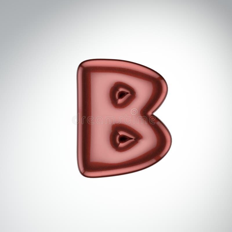 Glatter Farbenbuchstabe B 3D übertragen vom Blasenguß mit Schimmer isola stock abbildung