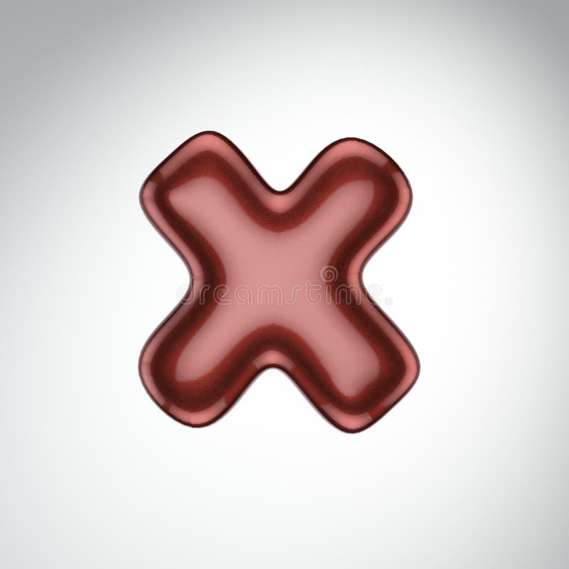 Glatter Farbenbuchstabe X 3D übertragen vom Blasenguß mit Schimmer isola lizenzfreie abbildung