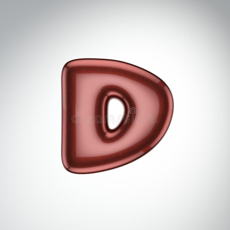 Glatter Farbenbuchstabe D 3D übertragen vom Blasenguß mit Schimmer isola vektor abbildung
