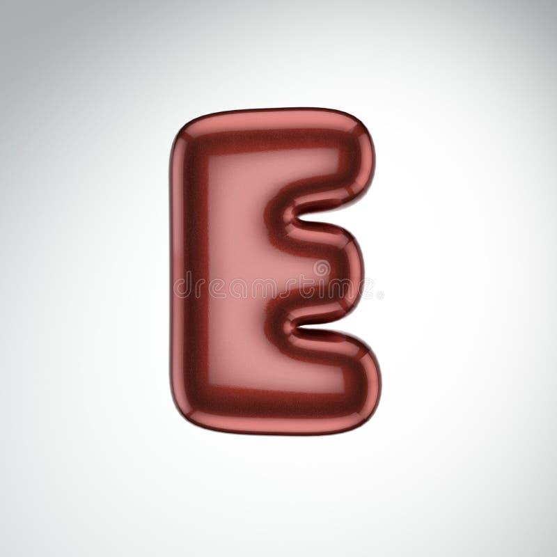 Glatter Farbenbuchstabe E 3D übertragen vom Blasenguß mit Schimmer isola vektor abbildung