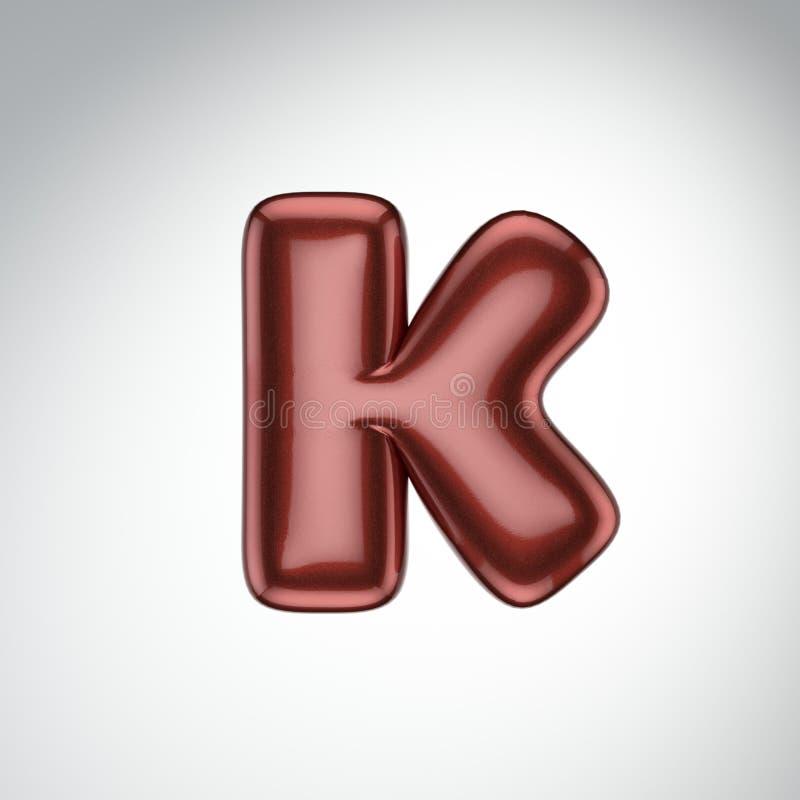 Glatter Farbenbuchstabe K 3D übertragen vom Blasenguß mit Schimmer isola stock abbildung
