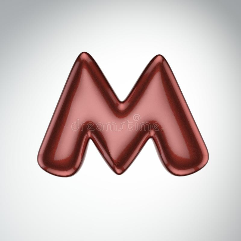 Glatter Farbenbuchstabe M 3D übertragen vom Blasenguß mit Schimmer isola stock abbildung