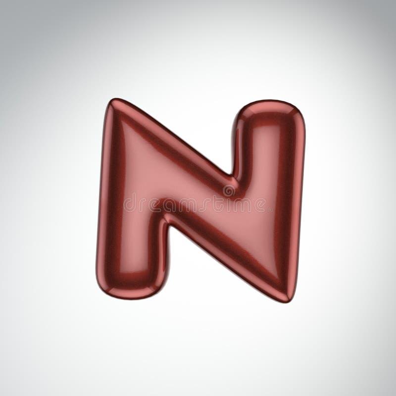 Glatter FarbenBuchstabe N 3D übertragen vom Blasenguß mit Schimmer isola stock abbildung