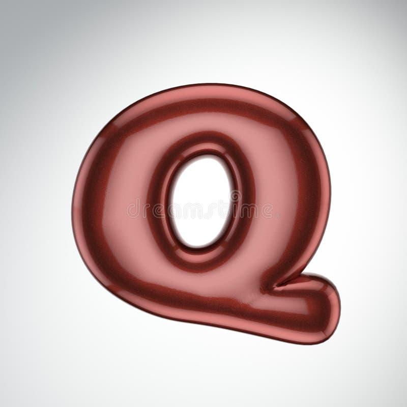 Glatter Farbenbuchstabe Q 3D übertragen vom Blasenguß mit Schimmer isola lizenzfreie abbildung