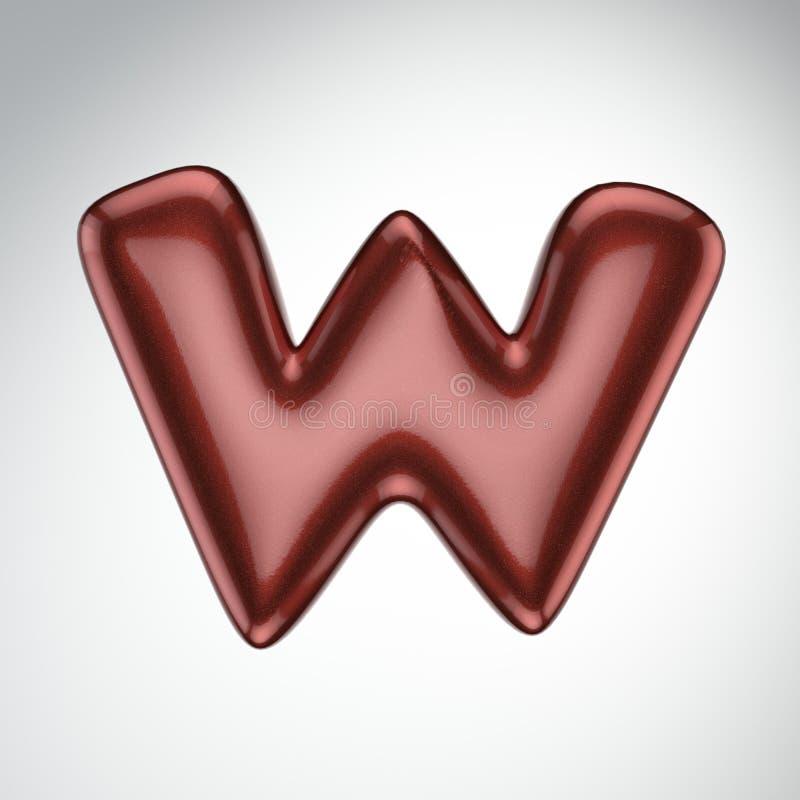 Glatter Farbenbuchstabe W 3D übertragen vom Blasenguß mit Schimmer isola lizenzfreie abbildung