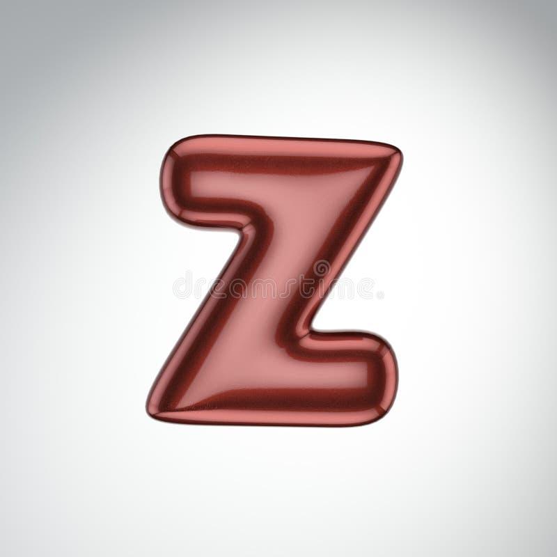 Glatter Farbenbuchstabe Z 3D übertragen vom Blasenguß mit Schimmer isola stock abbildung