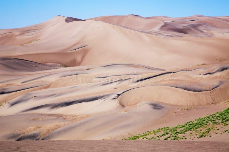 Glatter goldener Sand am großen Sanddüne-Nationalpark und vor stockbilder