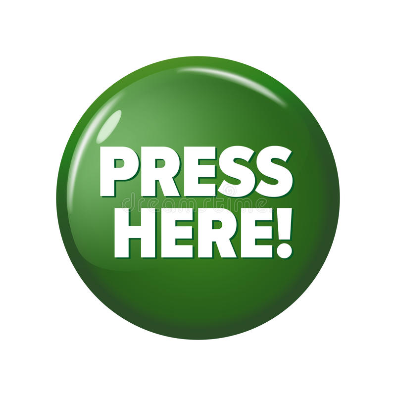 Glatter grüner runder Knopf mit Wort ` drücken hier! ` lizenzfreie abbildung