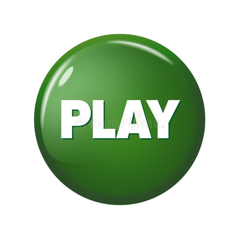 Glatter grüner runder Knopf mit Wort ` Spiel ` lizenzfreie abbildung