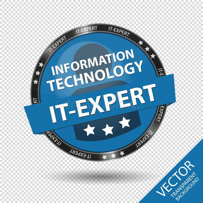 Glatter Informationstechnologie-Es-Experten-Knopf - blaue Vektor-Illustration - lokalisiert auf transparentem Hintergrund lizenzfreie abbildung