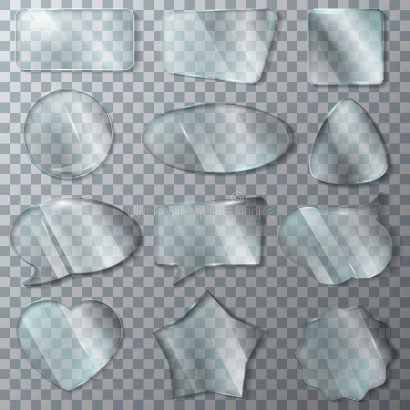Glatter klarer leerer Rahmen der Glasvektortransparenz und leerer Glasfensterschablonenherzillustrationsglaswarensatz lizenzfreie abbildung