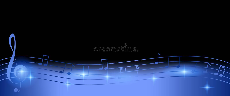 Glatter Musik-Anmerkungs-Hintergrund im Purpur auf schwarzem Kopien-Raum lizenzfreie abbildung