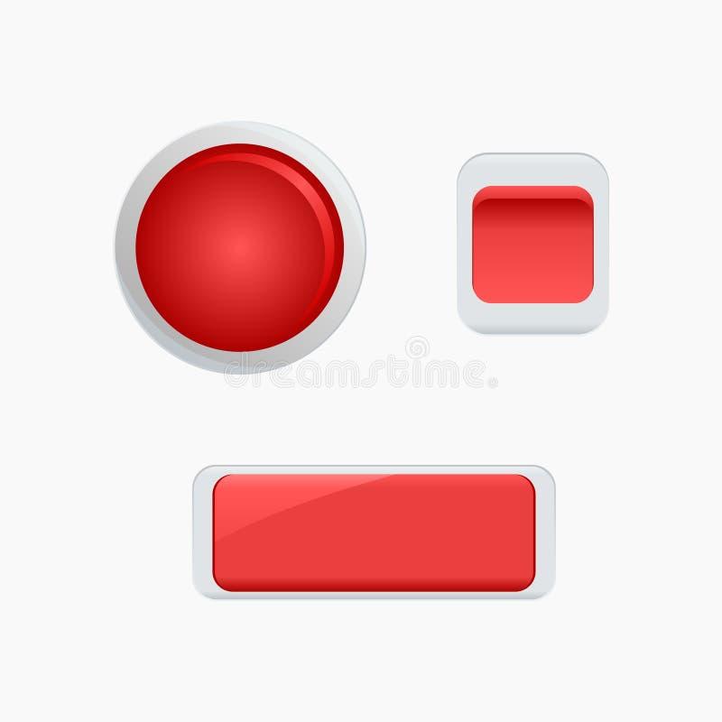 Glatter roter Knopf vektor abbildung