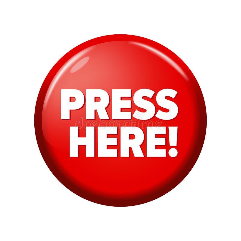 Glatter roter runder Knopf mit Wort ` drücken hier! ` vektor abbildung