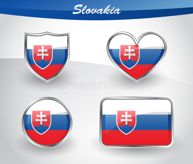 Glatter Slowakei-Flaggenikonensatz vektor abbildung