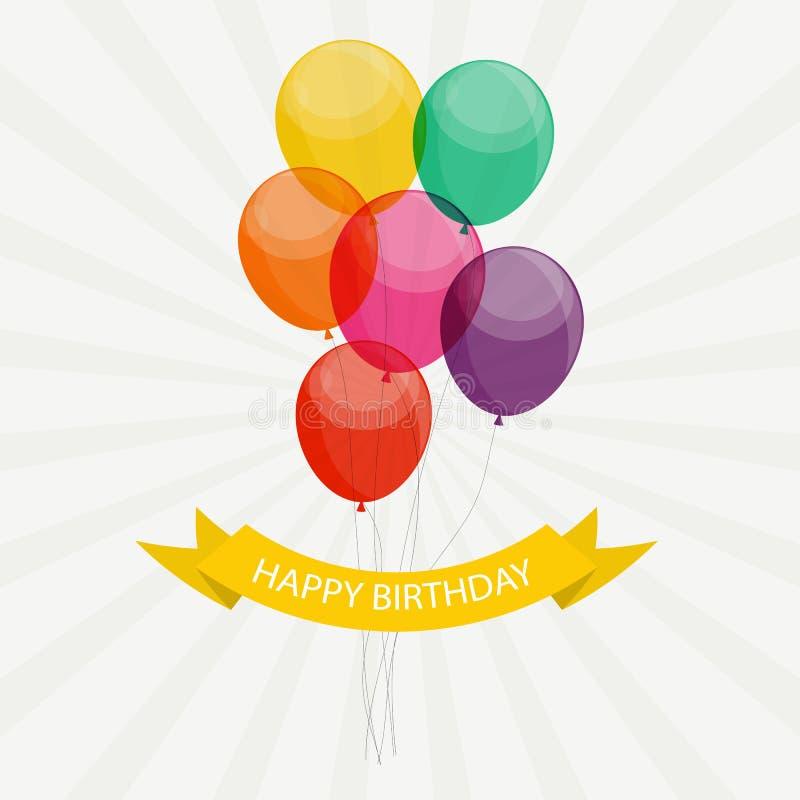 Glattes alles Gute zum Geburtstag steigt Hintergrund-Vektor-Illustration im Ballon auf stock abbildung