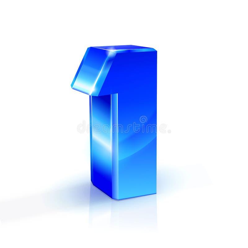 Glattes Blau eins 1 Zahl Abbildung 3d auf weißem Hintergrund lizenzfreie abbildung