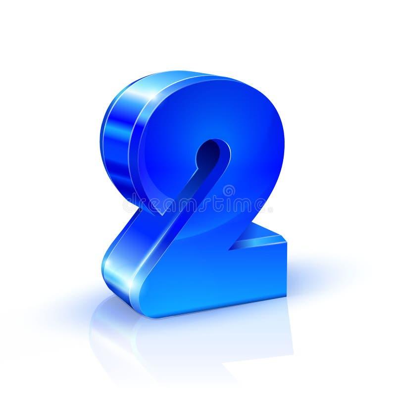 Glattes Blau zwei Nr. 2 Abbildung 3d auf weißem Hintergrund lizenzfreie abbildung