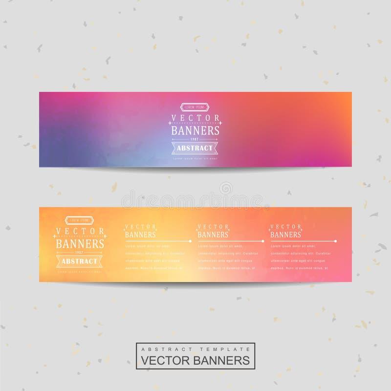 Glattes buntes Hintergrunddesign für die Fahnen eingestellt stock abbildung