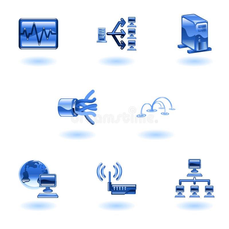 Glattes Computernetz-Ikonen-Set lizenzfreie abbildung