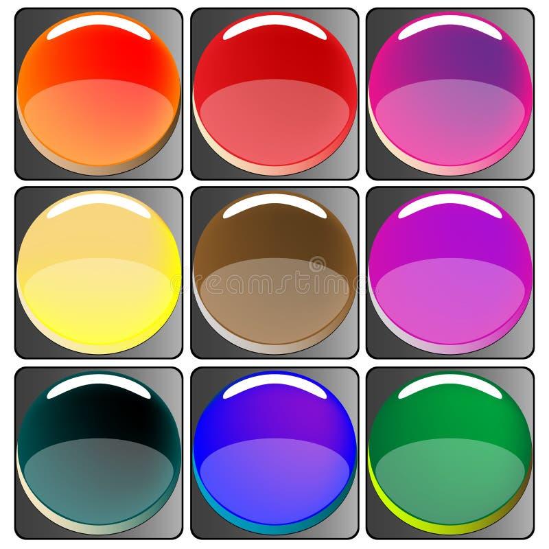 Glattes farbiges Web knöpft Ansammlung stock abbildung