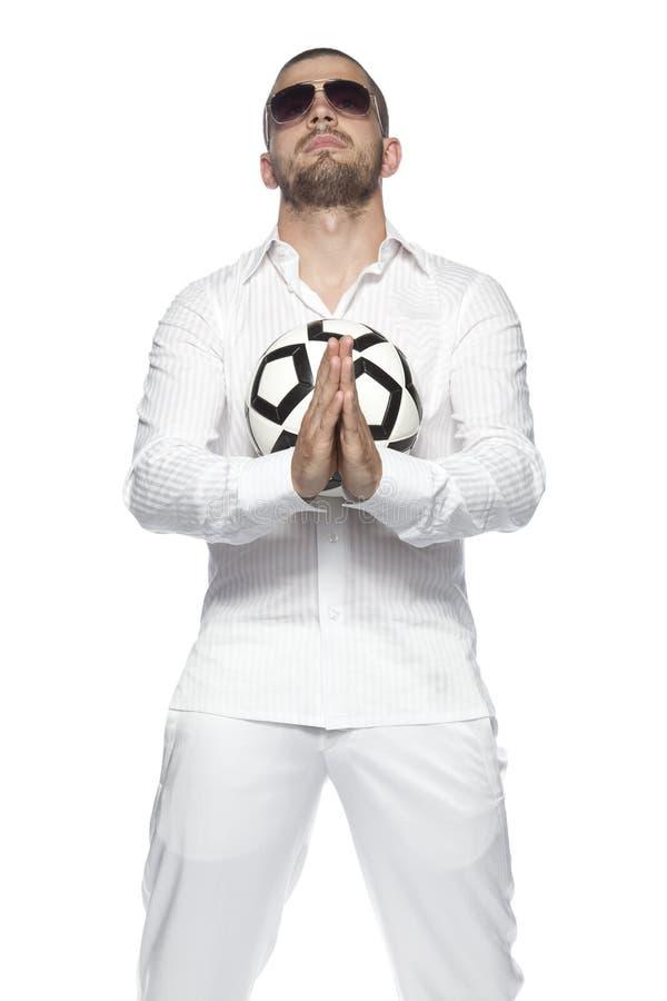 Glaube des Geschäftsmannes, lokalisiert auf dem weißen Hintergrund lizenzfreies stockbild