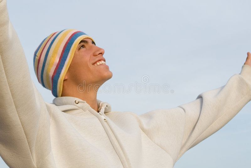 Glaube, glückliches Lächeln jugendlich lizenzfreie stockfotos