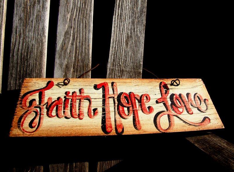 Glaube, Hoffnung-Liebes-Zeichen stockfoto