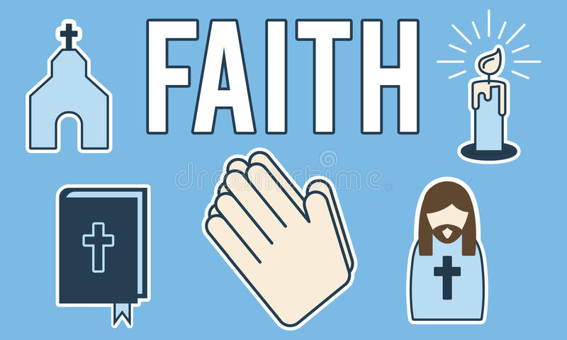 Glauben-Glaube glaubt Vertrauens-Überzeugungs-Hoffnungs-Konzept lizenzfreie abbildung