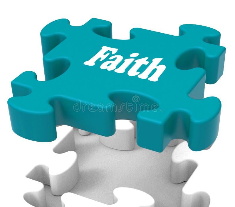 Glauben-Laubsägen-Shows, die religiösem Glauben oder Vertrauen glauben vektor abbildung