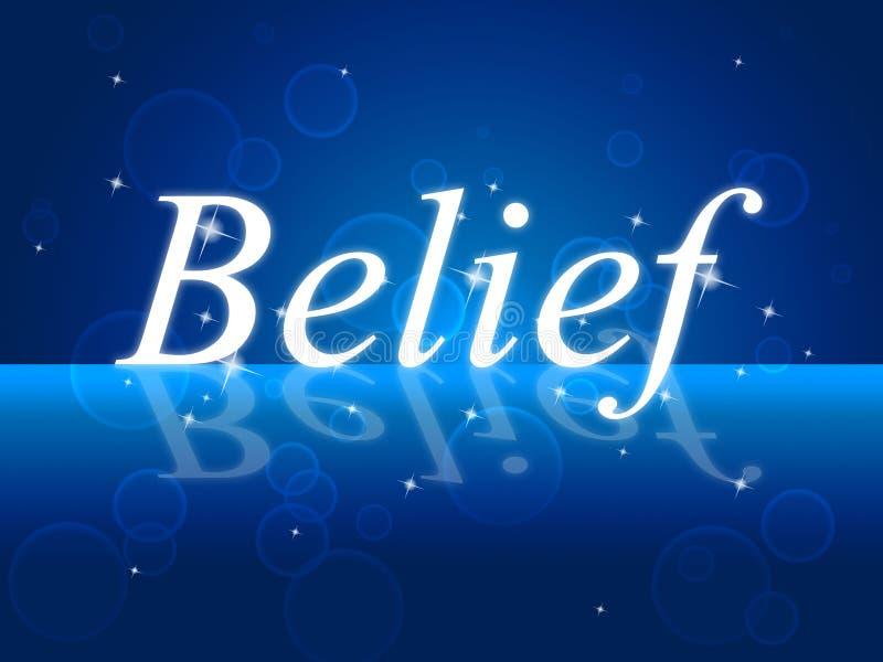 Glauben Sie, dass Wort glauben an selbst und Vertrauen darstellt vektor abbildung