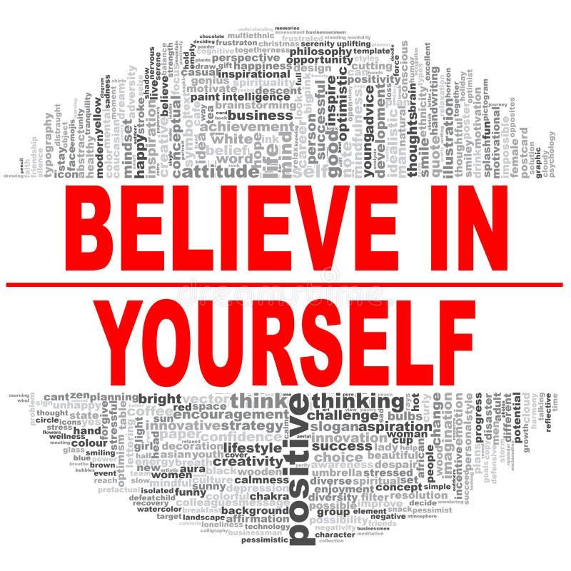 Glauben Sie an selbst lizenzfreie abbildung