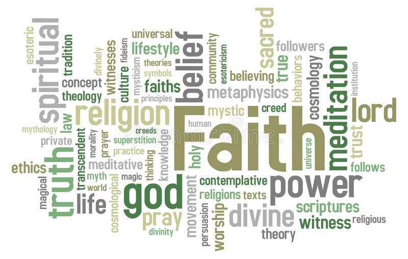 Glauben-Wort-Wolke lizenzfreie abbildung