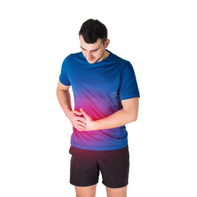 Glaubende Magenschmerzen und Seitenstechen des kaukasischen Mannathleten Sporttraumen, Körperschaden und Gesundheitswesenkonzept stockbild
