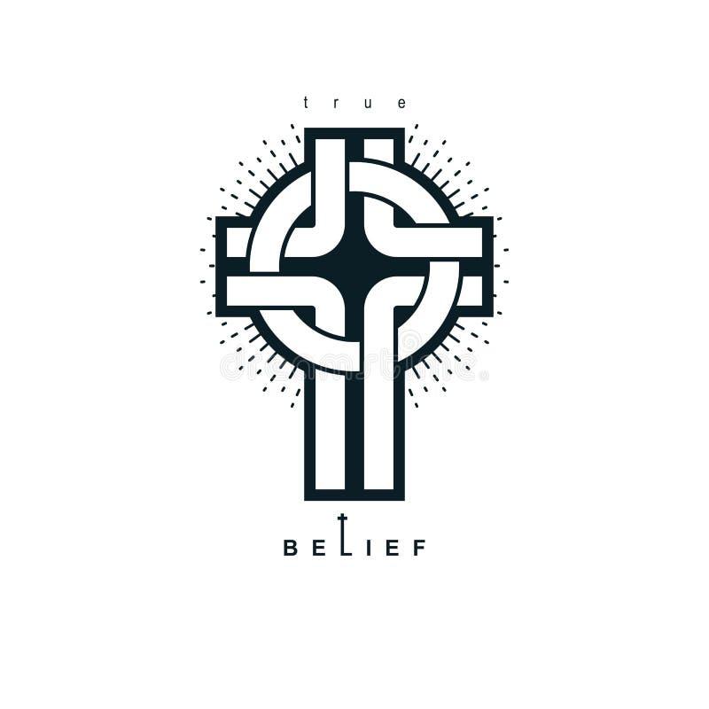 Glaubensvektor-Religionssymbol Christian Crosss wahres, Christentum lizenzfreie abbildung