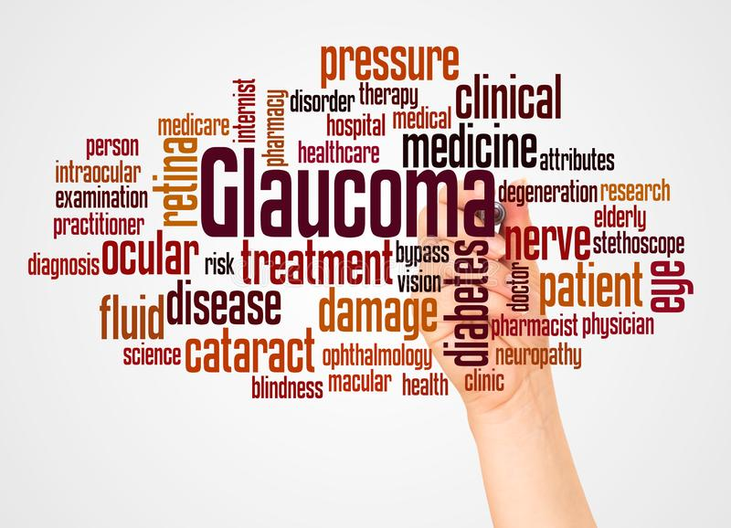 Glaucoma word cloud and hand with marker concept. On white background vector illustration
