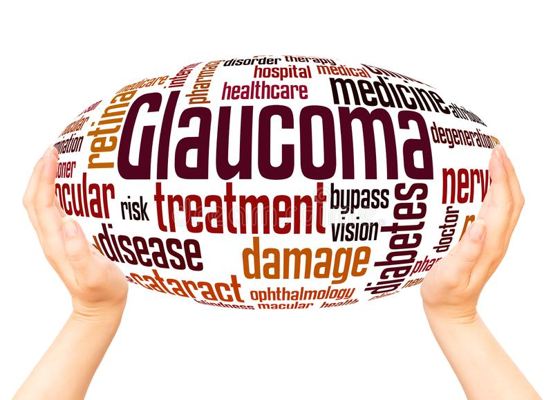 Glaucoma word cloud hand sphere concept. On white background stock illustration