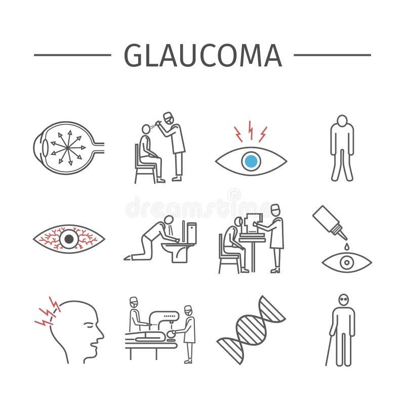 glaucome Ligne icônes réglées illustration de vecteur