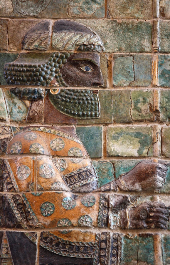 Glazed Brick Frieze of Persian Achaemenid Warrior from Susa. Ancient embossed colorful Achaemenid warrior from Susa of Iran royalty free stock photography