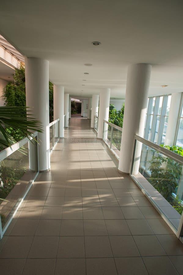 Glazed corridor, passage through the greenhouse, sunny corridor stock images