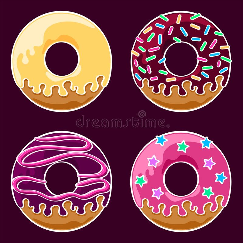 Glazed donuts set. Set of four assorted glazed donuts with icing and sprinkles. Coloured line art drawing. Vector graphics illustration. Editable vector shapes vector illustration