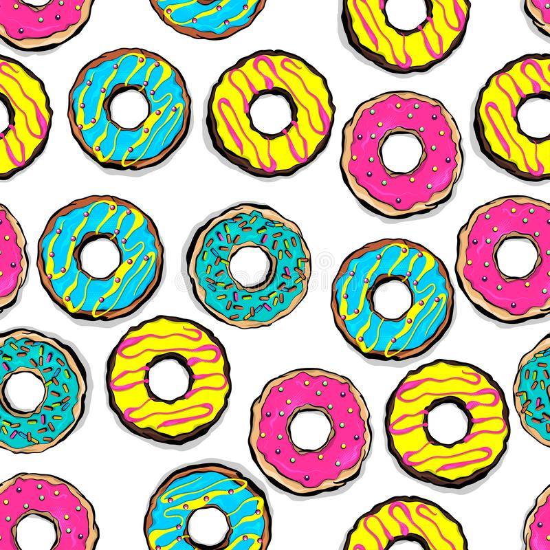 Glazed doughnut seamless pattern pop art. Style. Colored chocolate vanilla pink donut. Food bakery sweet dessert. Vector colored illustration stock illustration