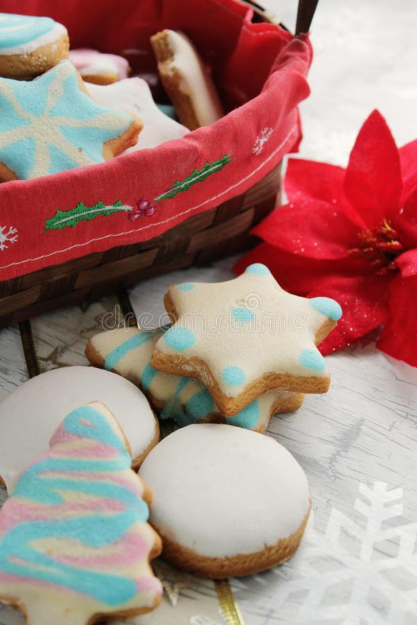 Glazed Gingerbread Cookies Royalty Free Stock Images