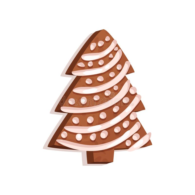 Glazed gingerbread in the shape of a Christmas tree, holifay symbol, New Year decoration vector Illustration on a white. Glazed gingerbread in the shape of a vector illustration