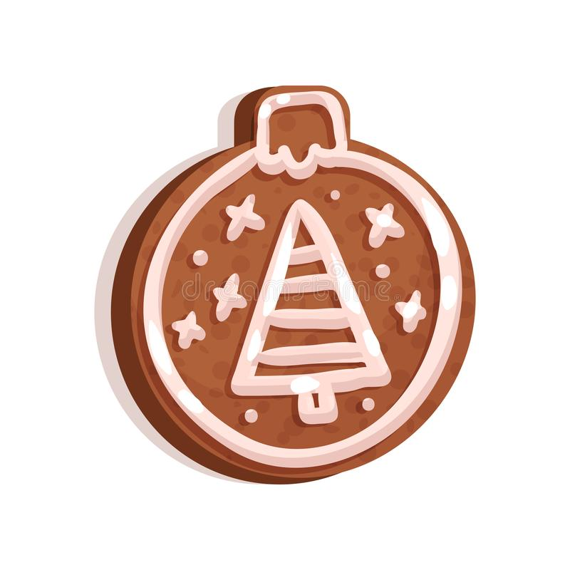 Glazed gingerbread in the shape of Christmas tree toy, holiday symbol, New Year decoration vector Illustration on a. Glazed gingerbread in the shape of Christmas vector illustration